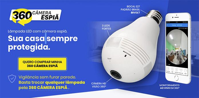lampada de led 360 camera espia