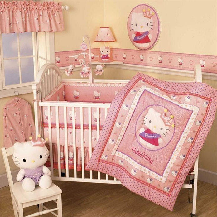 quarto de bebê decorado tema hello kit