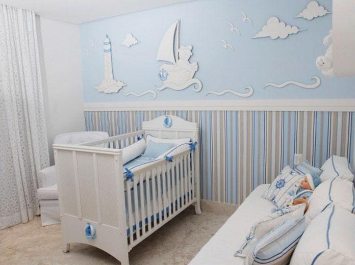 quarto de bebê decorado tema oceano