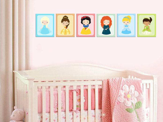 quarto de bebê decorado tema princesas
