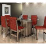 mesa de jantar 6 lugares de vidro quadrada