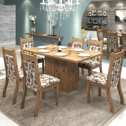 Mesa de jantar 6 lugares retangular