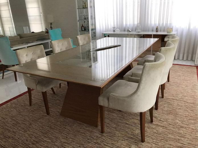 Mesa de jantar 4 6 ou 8 lugares quadrada retangular for Mesa moderna
