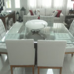 mesa de jantar 8 lugares de vidro quadrada