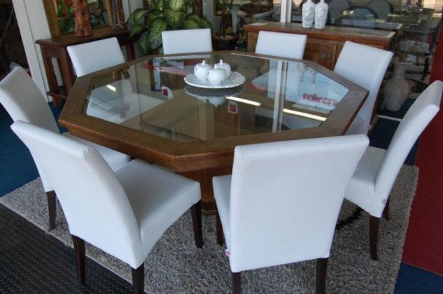 mesa de jantar 8 lugares redonda