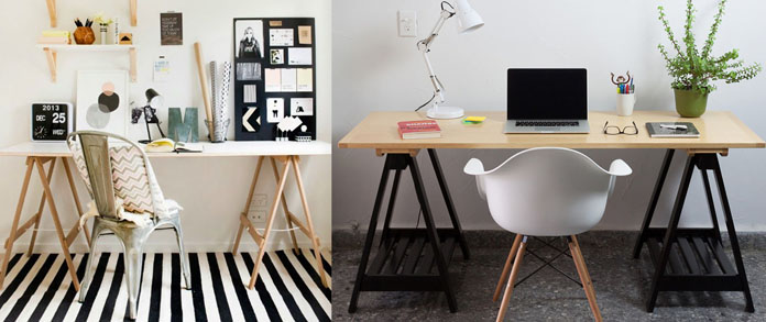 Home office com decoração barata