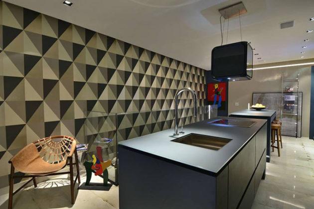 Papel de parede para cozinha com formas geométricas