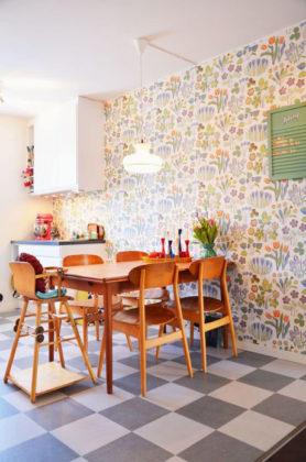 Papel de parede para cozinha florido