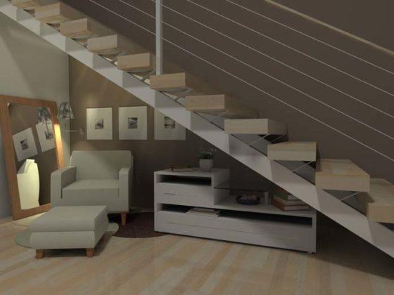Cantinho da leitura embaixo da escada