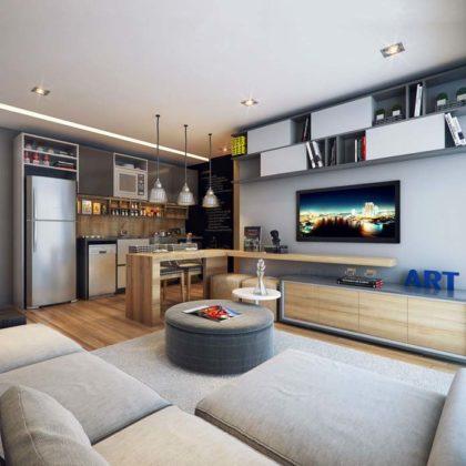 apartamento pequeno com ambientes integrados