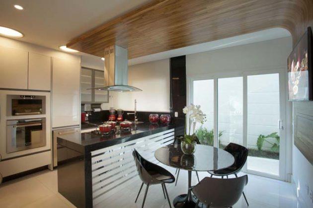 Cozinha preta e branca simples