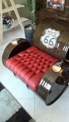 Tambor como sofá ou poltrona