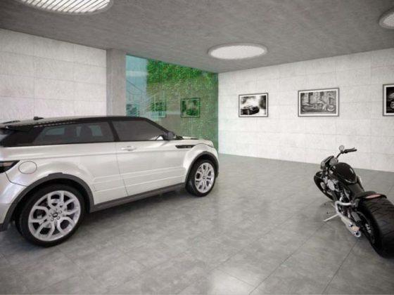Garagens com piso de porcelanato 01