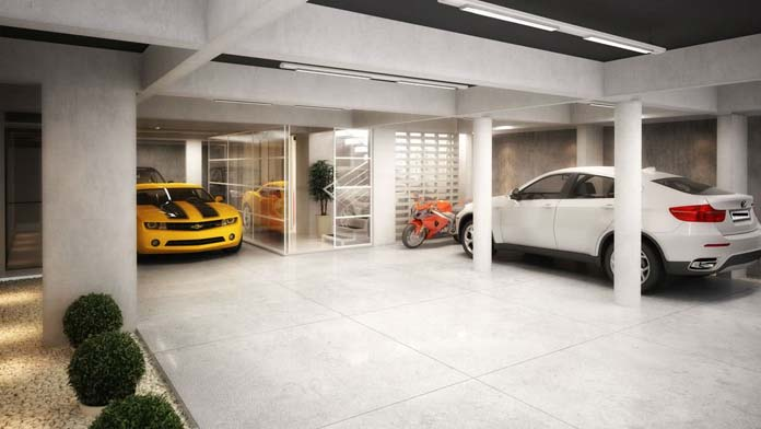Garagens com piso de porcelanato