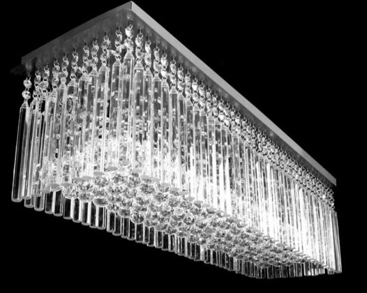 Lustre de cristal retangular