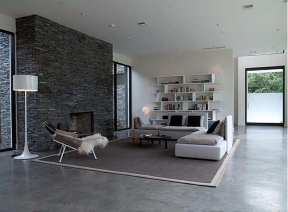 Salas com piso de cimento queimado