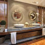 Decoração de banheiro rústico todo de madeira