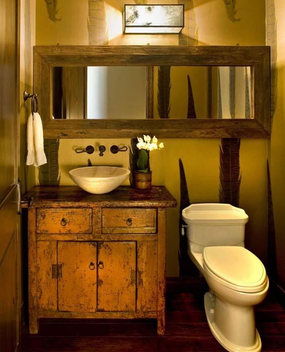Decoração de banheiro rústico
