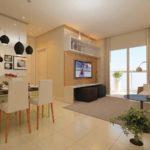 Decoração de sala de TV e de jantar juntas
