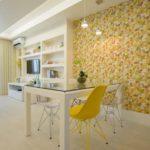 Decoração de sala de jantar com papel de parede