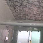 banheiro com papel no teto