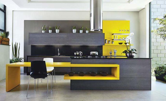 Decoração de cozinha moderna com bancada