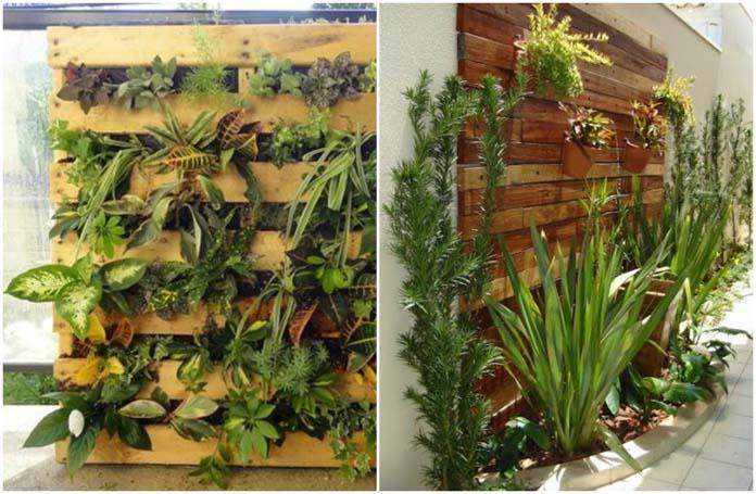 Jardim vertical Plantas artificiais, suculentas, orquídeas e mais! # Decoração Para Jardins Com Paletes