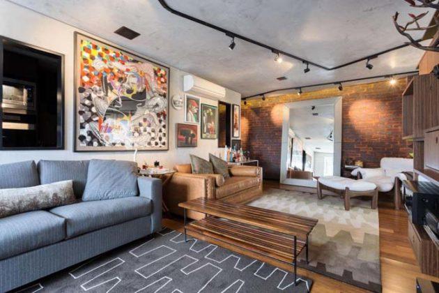 Sala moderna e rústica