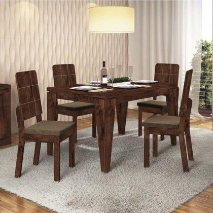 Sala de jantar com móveis rústicos