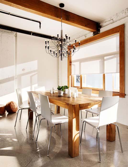 mesa rústica e moderna
