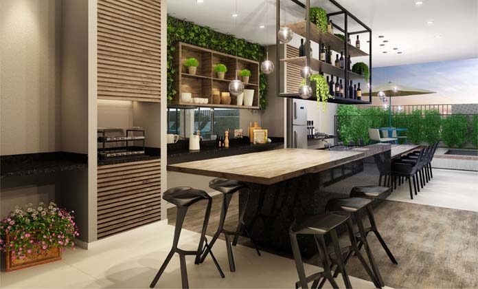 Cozinha gourmet na área externa