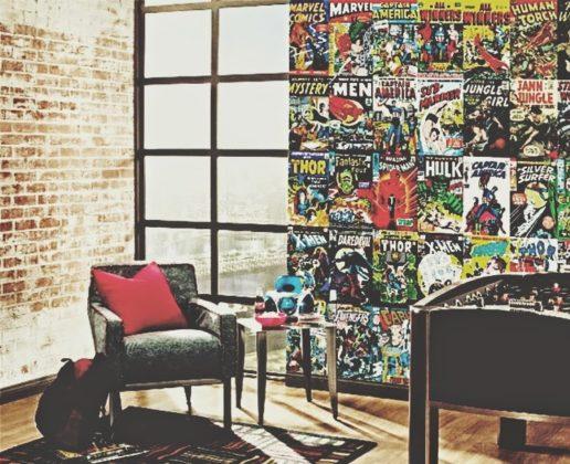 quarto com Papel de parede gamer