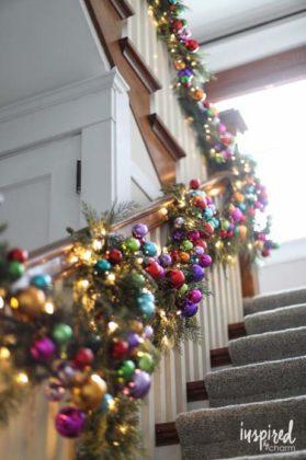 Enfeites de natal para escada