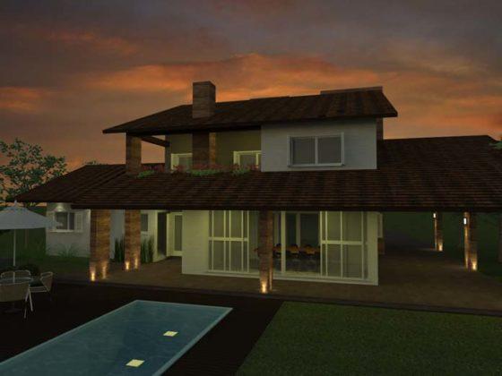Casas com varanda e teto colonial