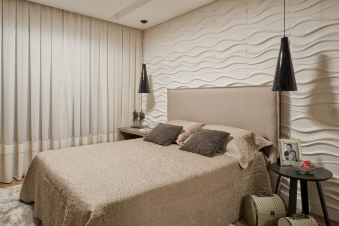 Parede 3D em um quarto totalmente clean