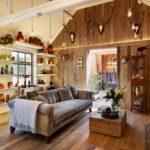 Decoração Rústica para sala de estar com madeira
