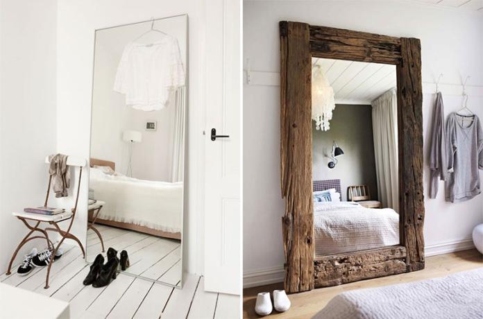 um espelho sem moldura e um espelho com muldura de madeira rústica