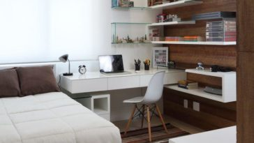 quarto de visitas decorado nos tons de marrom e branco