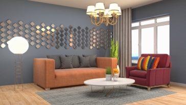 sala com dois sofás de cores diferentes