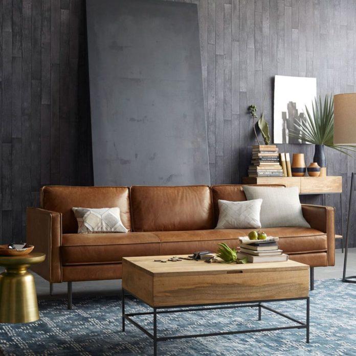 sofá em couro classico