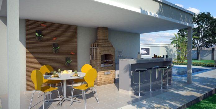 Cadeiras coloridas para uma área de churrasqueira moderna