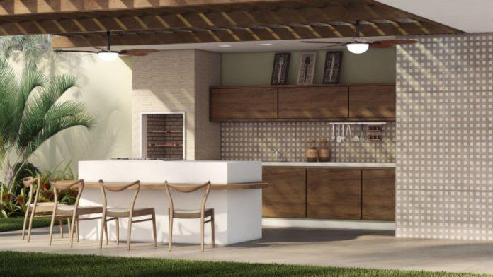 área de churrasqueira moderna com um ambiente clean