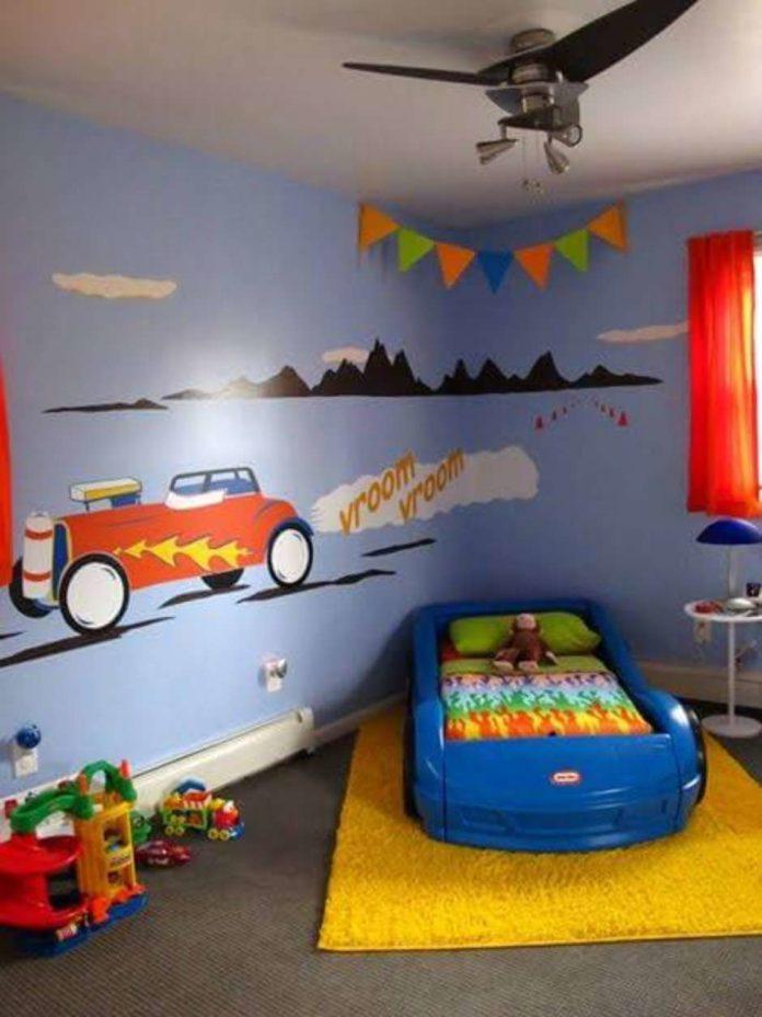 Adesivos para um quarto com a decoração de carros