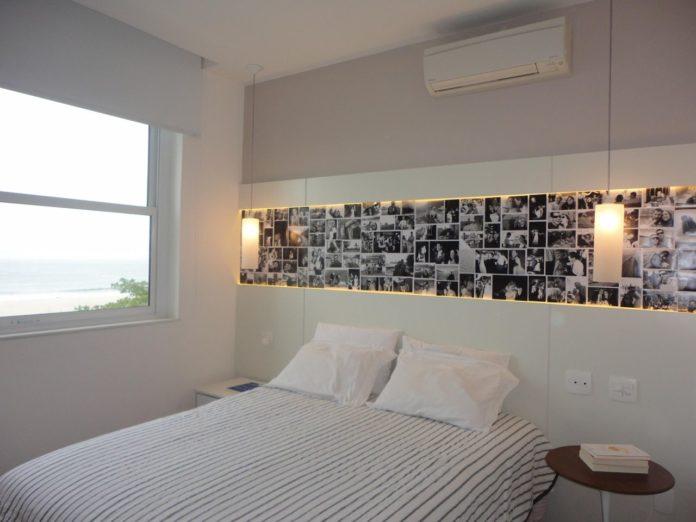 Decoração da cabeceira do quarto com fotos