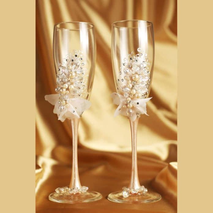 decoração para taça de champanhe
