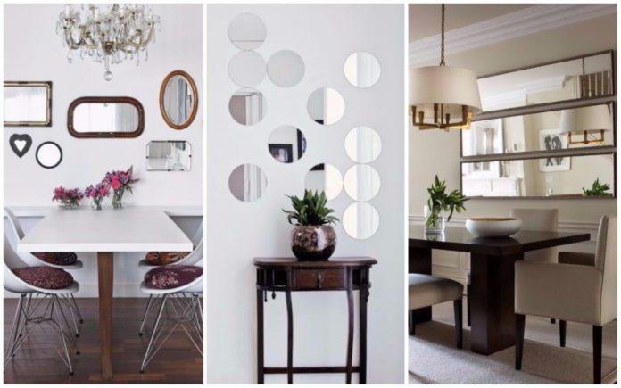 Tipos de espelhos em diferentes locais