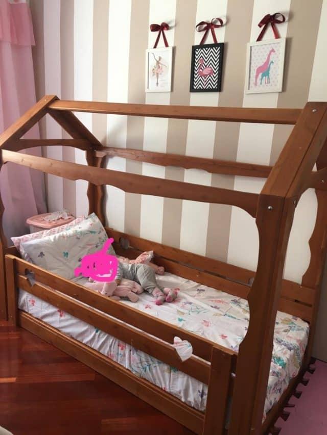 cama casa toda em madeira rustica