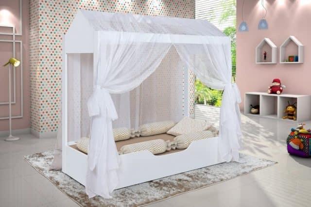 cama casa com tecido