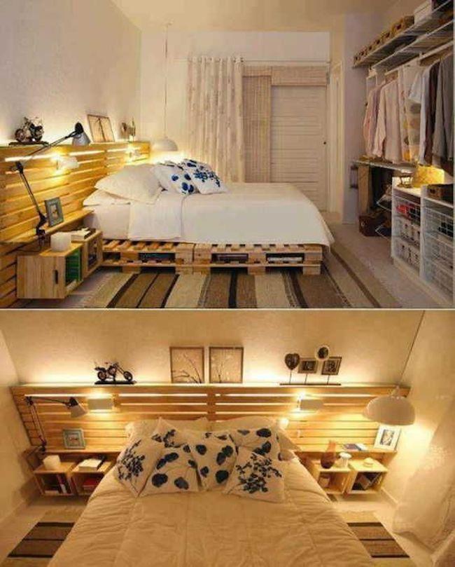 decoração quarto do casal com bambu e pallet