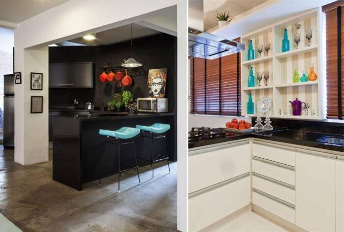 cozinha com cores fortes